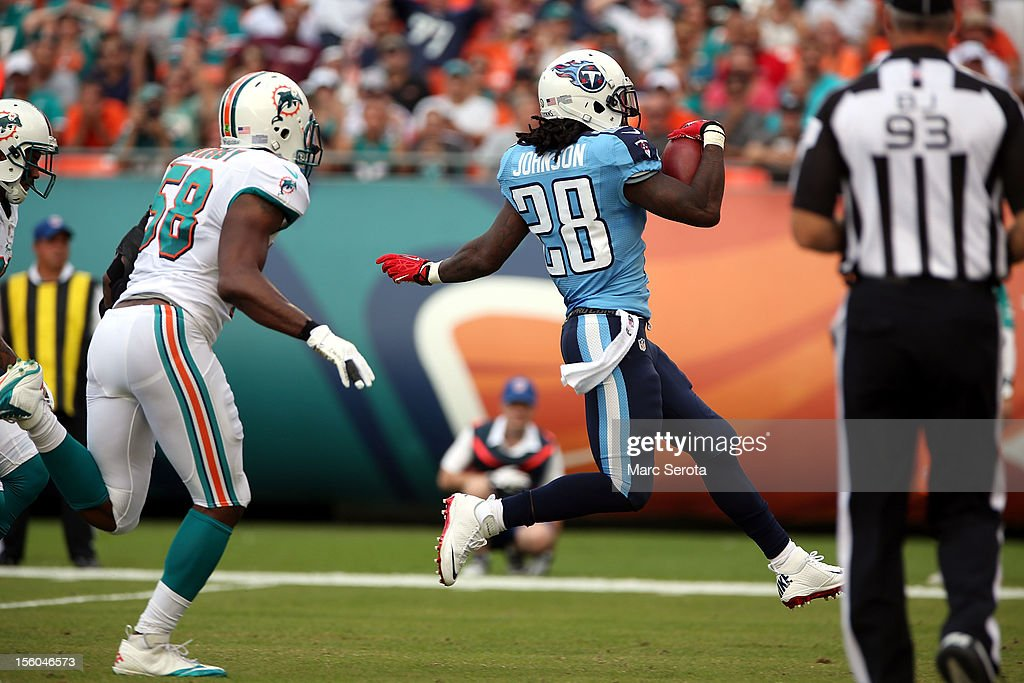 Running back <a gi-track='captionPersonalityLinkClicked' href=/galleries/search?phrase=Chris+Johnson+-+American+Football+Running+Back&family=editorial&specificpeople=211438 ng-click='$event.stopPropagation()'>Chris Johnson</a> #28 of the Tennessee Titans scores a touchdown against the Miami Dolphins at Sun Life Stadium on November 11, 2012 in Miami Gardens, Florida. The Titans defeated the Dolphins 37-3.