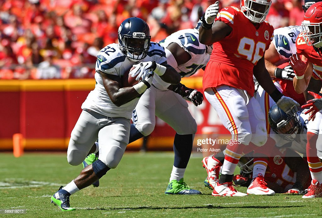 Running back Christine Michael #32 of the Seattle Seahawks rushes up field against the Kansas City Chiefs during the first half on August 13, 2016 at Arrowhead Stadium in Kansas City, Missouri.