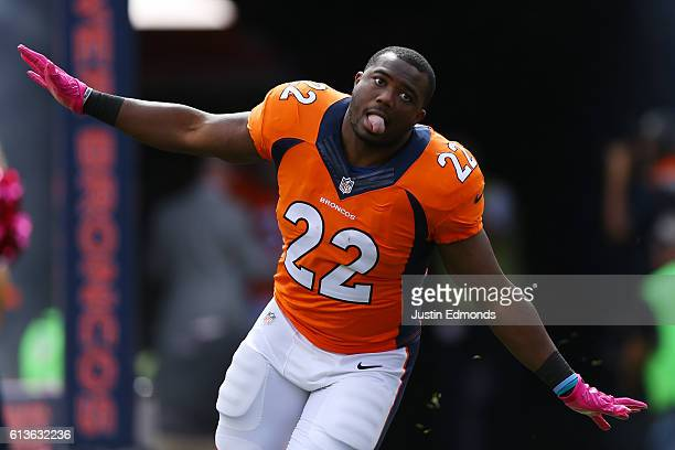 Running back CJ Anderson of the Denver Broncos is introduced before the game against the Atlanta Falcons at Sports Authority Field at Mile High on...