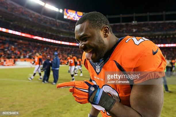 Running back CJ Anderson of the Denver Broncos smiles as he walks off the field after the Denver Broncos 2720 win over the San Diego Chargers at...