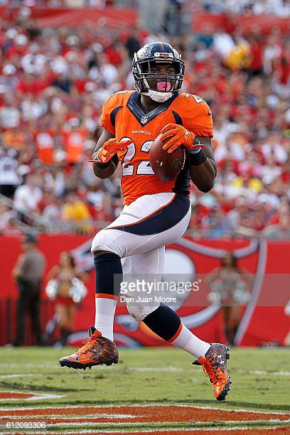 Running back CJ Anderson of the Denver Broncos steps in the end zone for a touchdown during the game against the Tampa Bay Buccaneers at Raymond...