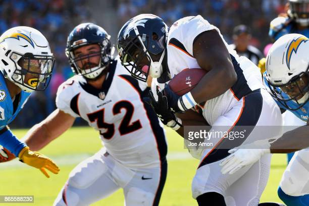 Running back CJ Anderson of the Denver Broncos trying to pick up yards as the Denver Broncos take on the Los Angeles Chargers at the StubHub Center...