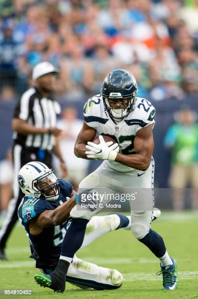 Running back CJ Prosise of the Seattle Seahawks carries the ball during a NFL game against the Tennessee Titans at Nissan Stadium on September 24...
