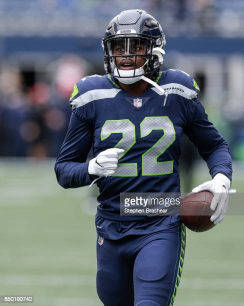Running back CJ Prosise of the Seattle Seahawks runs with the ball during warm ups before a game against the San Francisco 49ers at CenturyLink Field...