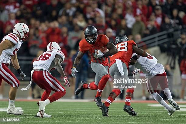 Running back Curtis Samuel of the Ohio State Buckeyes running the ball during an NCAA football game between the Nebraska Cornhuskers and the Ohio...