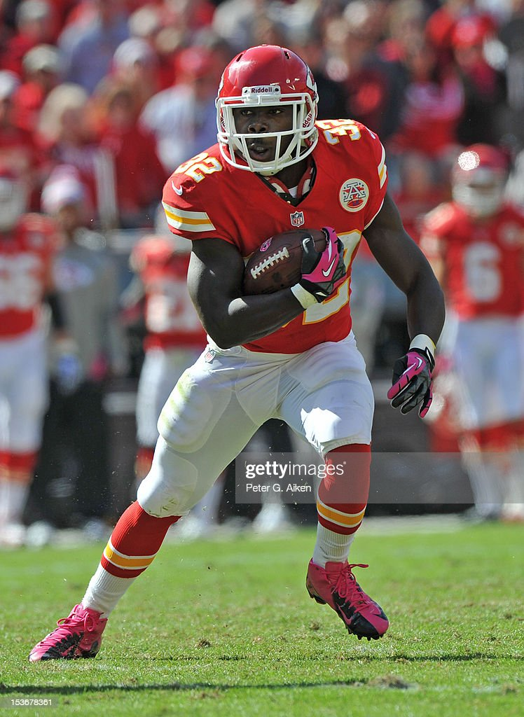 Running back Cyrus Gray #32 of the Kansas City Chiefs rushes up field against the Baltimore Ravens during the second half on October 7, 2012 at Arrowhead Stadium in Kansas City, Missouri.