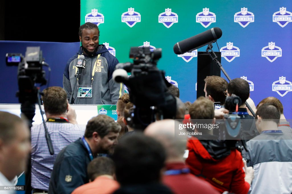 Running back Dalvin Cook of Florida State answers questions from the media on Day 2 of the NFL Combine at the Indiana Convention Center on March 2, 2017 in Indianapolis, Indiana.