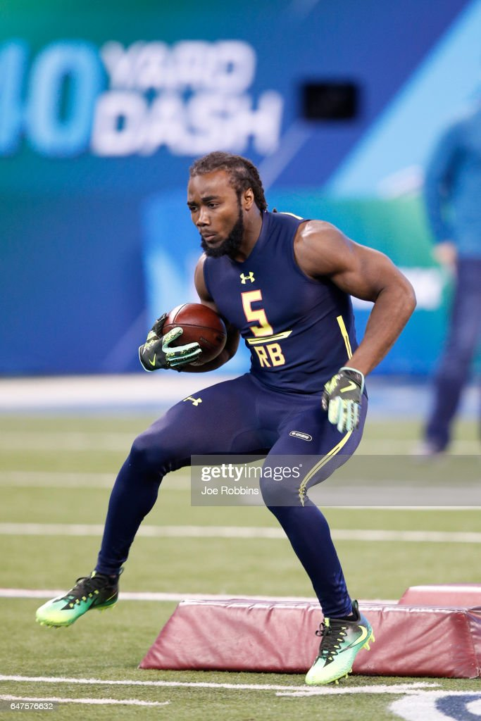 Running back Dalvin Cook of Florida State carries the ball during a drill on day three of the NFL Combine at Lucas Oil Stadium on March 3, 2017 in Indianapolis, Indiana.