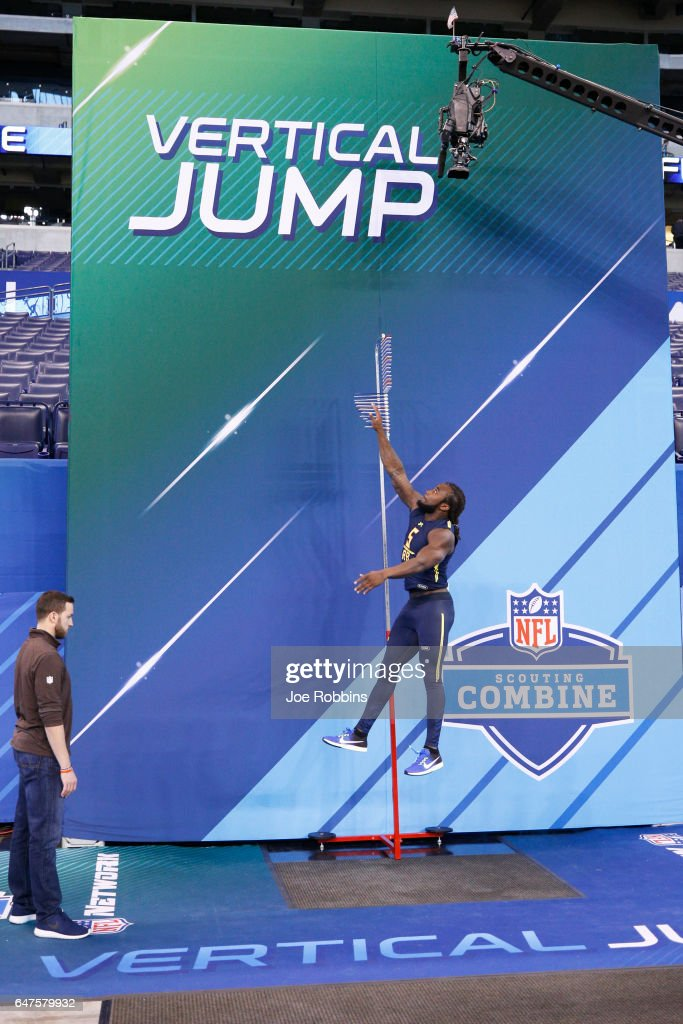 Running back Dalvin Cook of Florida State participates in the vertical jump during day three of the NFL Combine at Lucas Oil Stadium on March 3, 2017 in Indianapolis, Indiana.