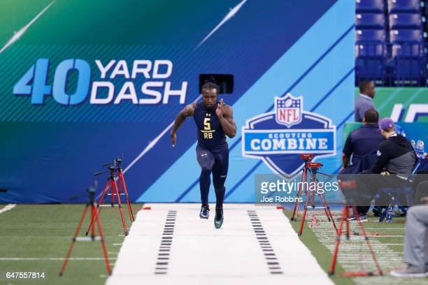 Running back Dalvin Cook of Florida State runs the 40yard dash during the NFL Combine at Lucas Oil Stadium on March 3 2017 in Indianapolis Indiana