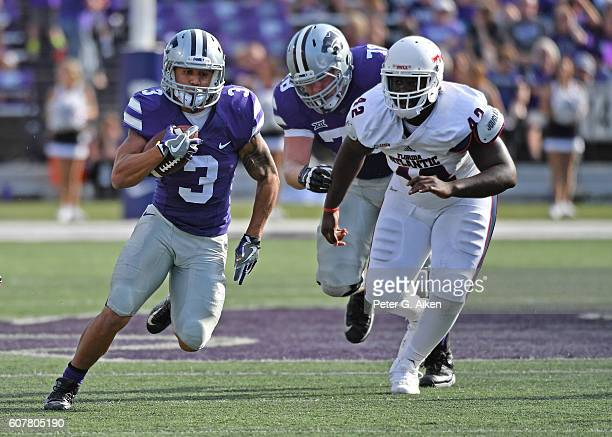 Running back Dalvin Warmack of the Kansas State Wildcats rushes up field against the Florida Atlantic Owls during the second half on September 17...