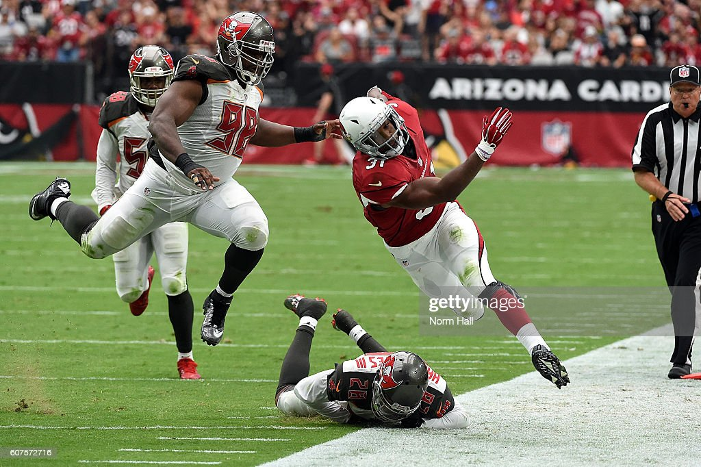 Running back David Johnson #31 of the Arizona Cardinals is pushed out of bounds by defensive end Clinton McDonald #98 and cornerback Vernon Hargreaves III of the Tampa Bay Buccaneers during the second quarter of the NFL game at University of Phoenix Stadium on September 18, 2016 in Glendale, Arizona.