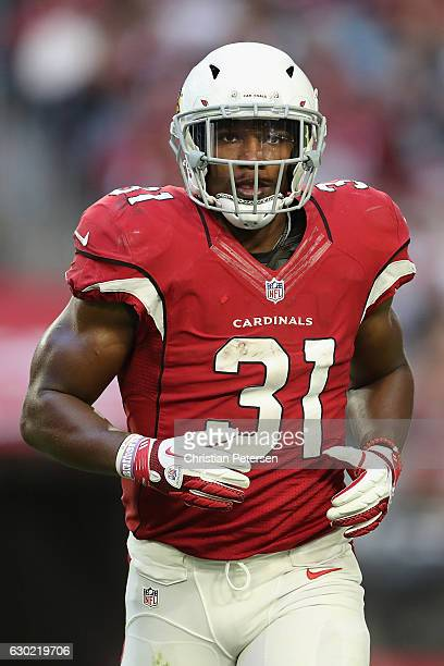 Running back David Johnson of the Arizona Cardinals runs onto the field during the NFL game against the New Orleans Saints at the University of...