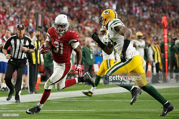 Running back David Johnson of the Arizona Cardinals rushes the football against the Green Bay Packers during the NFL game at the University of...