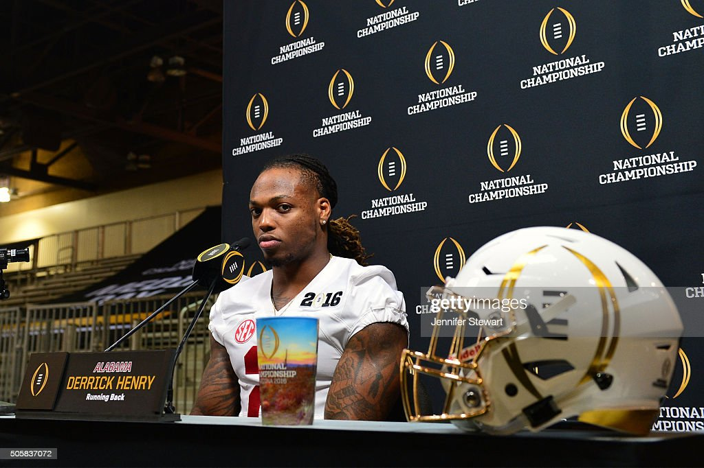 Running back Derrick Henry of the Alabama Crimson Tide addresses the media during Media Day for the College Football Playoff National Championship at...