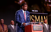 Running back Derrick Henry of the Alabama Crimson Tide speaks after being named the 81st Heisman Memorial Trophy Award winner during the 2015 Heisman...