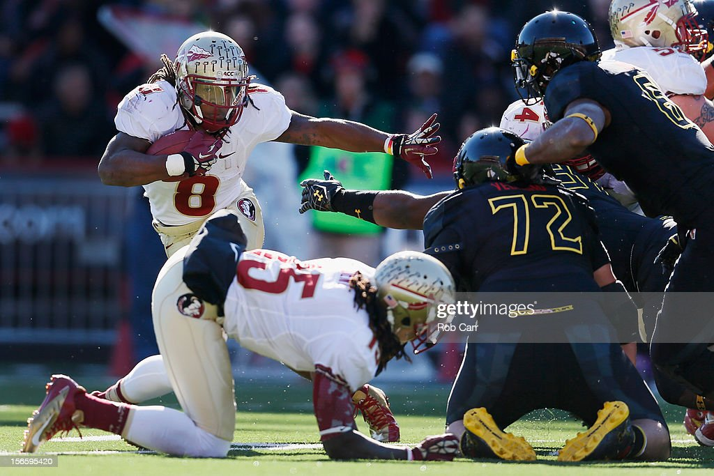 Running back Devonta Freeman #8 of the Florida State Seminoles carries the ball against the Maryland Terrapins at Byrd Stadium on November 17, 2012 in College Park, Maryland.