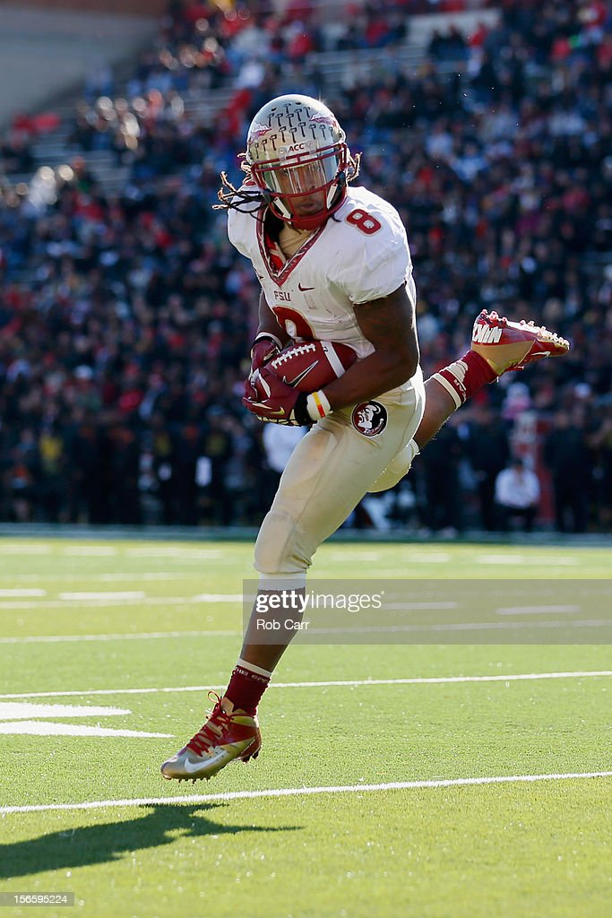 Running back Devonta Freeman #8 of the Florida State Seminoles catches a first half pass against the Maryland Terrapins at Byrd Stadium on November 17, 2012 in College Park, Maryland.