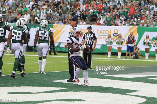 Running Back Dion Lewis of the New England Patriots scores a Touchdown in action against the New York Jets during their game at MetLife Stadium on...