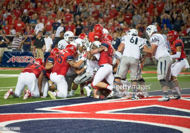 Running back Don Jackson of the Nevada Wolf Pack converts a 2 point conversion to tie the game at 21 against the Arizona Wildcats at Arizona Stadium...