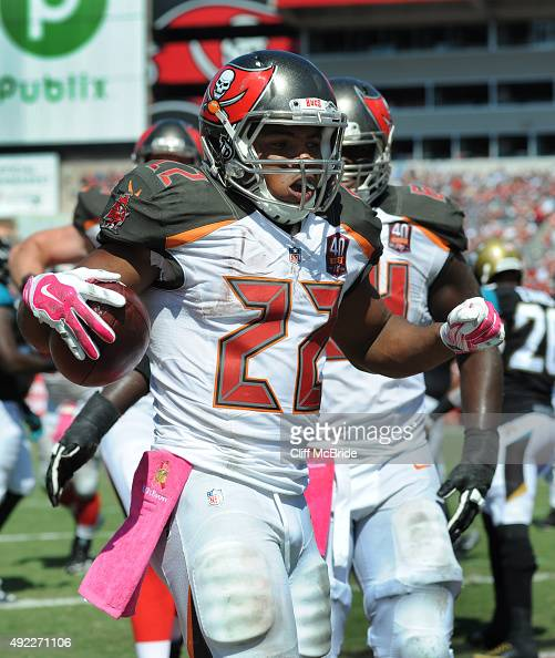 Running back Doug Martin of the Tampa Bay Buccaneers celebrates a second quarter touchdown against the Jacksonville Jaguars at Raymond James Stadium...