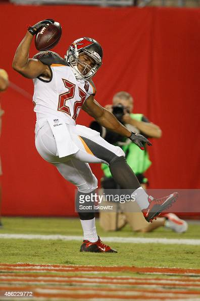 Running back Doug Martin of the Tampa Bay Buccaneers celebrates in the end zone during the preseason game between the Tampa Bay Buccaneers and the...