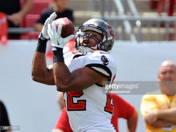 Running back Doug Martin of the Tampa Bay Buccaneers grabs a warmup pass before play against the New Orleans Saints September 15 2013 at Raymond...