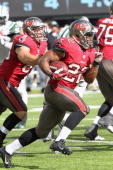 Running Back Doug Martin of the Tampa Bay Buccaneers has a long gain against the New York Jets at MetLife Stadium on September 8 2013 in East...