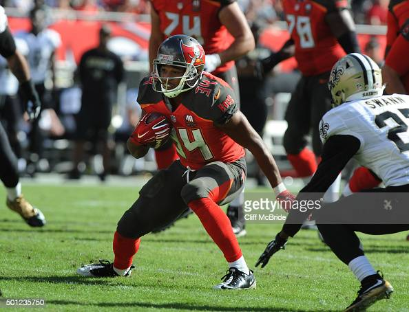 Running back Doug Martin of the Tampa Bay Buccaneers runs for a touchdown against the New Orleans Saints at Raymond James Stadium on December 13 2015...