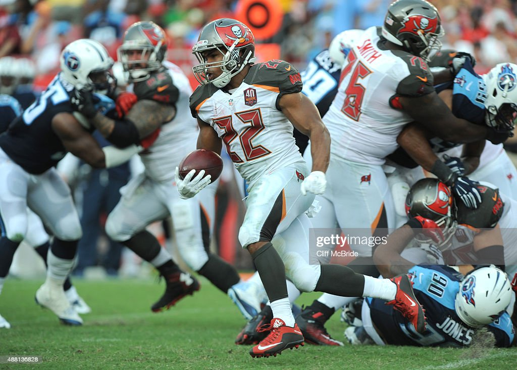Running back Doug Martin #22 of the Tampa Bay Buccaneers runs for yardage against the Tennessee Titans in the third quarter at Raymond James Stadium on September 13, 2015 in Tampa, Florida.