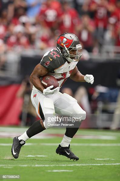 Running back Doug Martin of the Tampa Bay Buccaneers runs up field during the first half of the NFL game against the Arizona Cardinals at the...