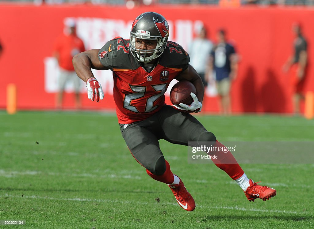 Running back Doug Martin #22 of the Tampa Bay Buccaneers runs with the ball against the Chicago Bears in the first second quarter at Raymond James Stadium on December 27, 2015 in Tampa, Florida.