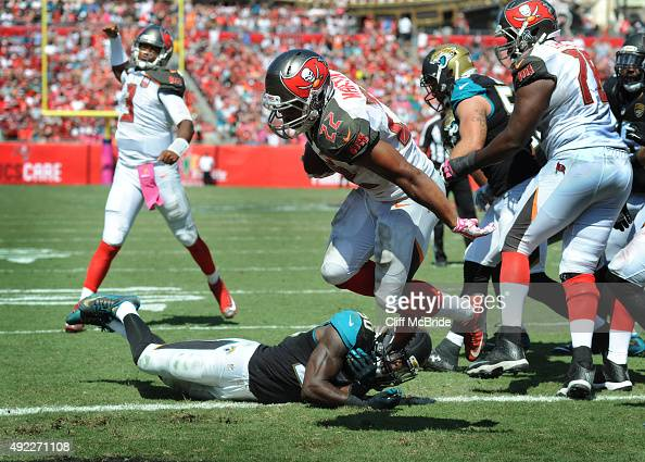 Running back Doug Martin of the Tampa Bay Buccaneers scores a touchdown against the Jacksonville Jaguars in the second quarter at Raymond James...
