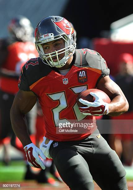 Running back Doug Martin of the Tampa Bay Buccaneers warms up before the game against the Atlanta Falcons at Raymond James Stadium on December 6 2015...