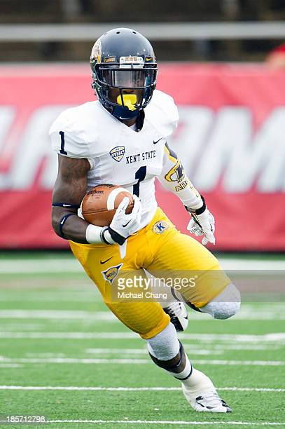Running back Dri Archer of the Kent State Golden Flashes runs downfield during their game against the South Alabama Jaguars on October 19 2013 at...