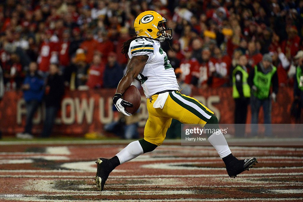 Running back DuJuan Harris #26 of the Green Bay Packers celebrates after running the ball in for a touchdown against the San Francisco 49ers in the first quarter during the NFC Divisional Playoff Game at Candlestick Park on January 12, 2013 in San Francisco, California.