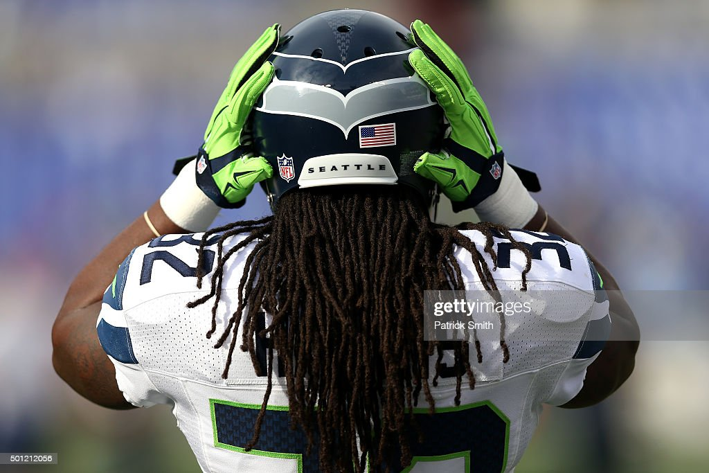 Running back <a gi-track='captionPersonalityLinkClicked' href=/galleries/search?phrase=DuJuan+Harris&family=editorial&specificpeople=5547092 ng-click='$event.stopPropagation()'>DuJuan Harris</a> #32 of the Seattle Seahawks looks on before a game against the Baltimore Ravens at M&T Bank Stadium on December 13, 2015 in Baltimore, Maryland.