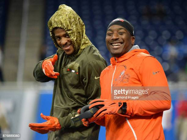 Running back Duke Johnson Jr #29 of the Cleveland Browns smiles as wide receiver Rashard Higgins poses for a picture prior to a game on November 12...
