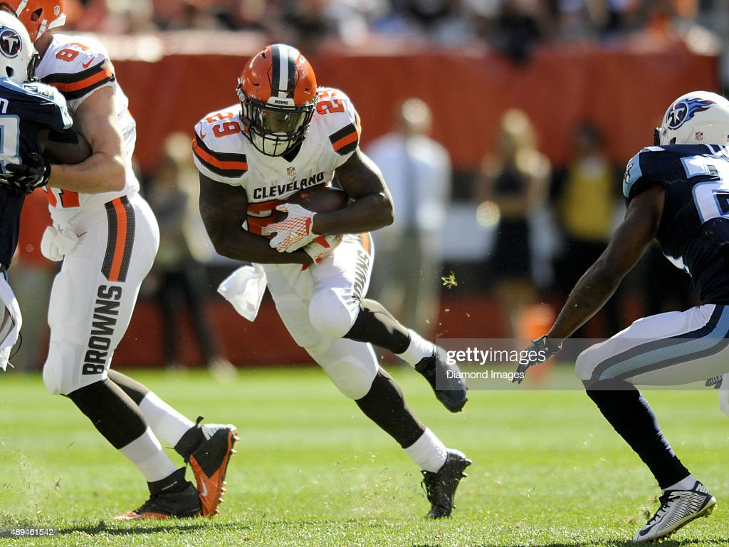 Running back <a gi-track='captionPersonalityLinkClicked' href=/galleries/search?phrase=Duke+Johnson+-+American+Football+Player&family=editorial&specificpeople=13981151 ng-click='$event.stopPropagation()'>Duke Johnson</a> #29 of the Cleveland Browns carries the ball during a game against the Tennessee Titans on September 20, 2015 at FirstEnergy Stadium in Cleveland, Ohio. Cleveland won 28-14.