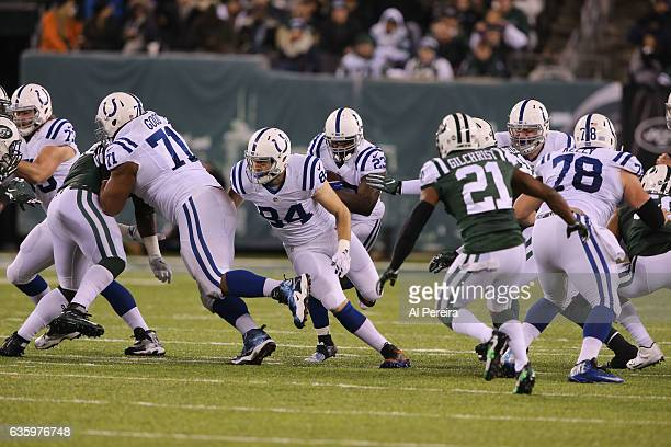 Running Back Frank Gore of the Indianapolis Colts has a long gain against the New York Jets during their game at MetLife Stadium on December 5 2016...