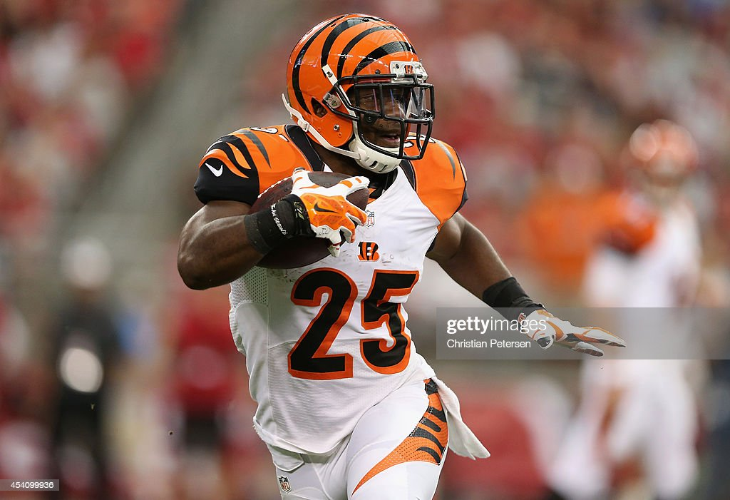 Running back Giovani Bernard of the Cincinnati Bengals runs up field during the first quarter of the preseason NFL game against the Arizona Cardinals...