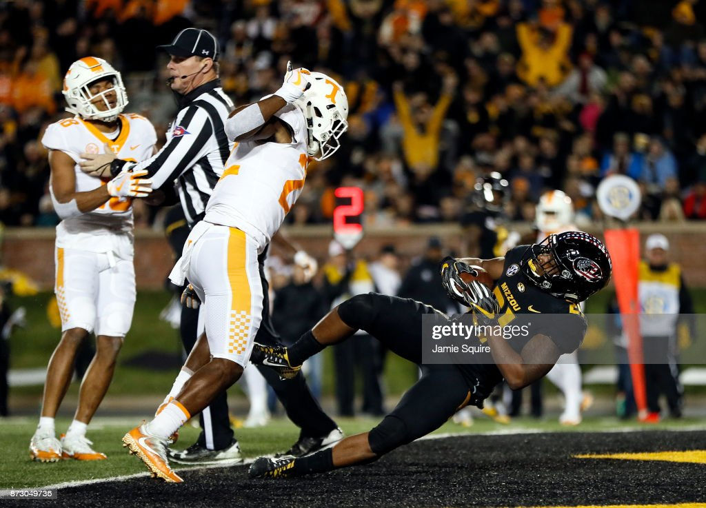 Running back Ish Witter #21 of the Missouri Tigers carries the ball into the endzone for a touchdown during the game against the Tennessee Volunteers at Faurot Field/Memorial Stadium on November 11, 2017 in Columbia, Missouri.