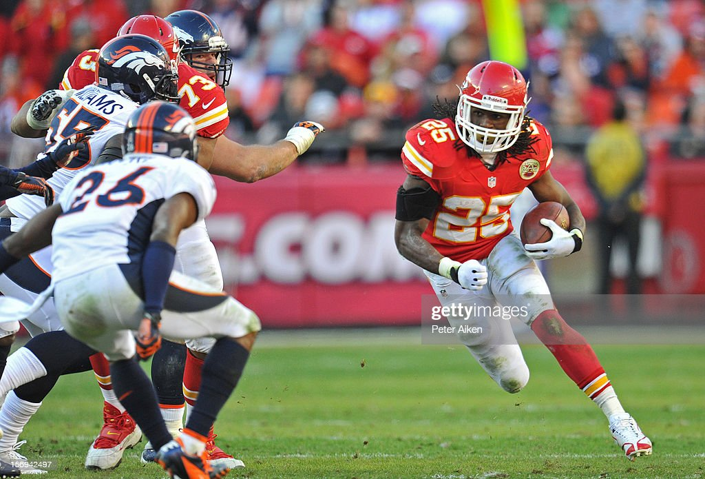 Running back Jamaal Charles #25 of the Kansas City Chiefs rushes up field against the Denver Broncos during the second half on November 25, 2012 at Arrowhead Stadium in Kansas City, Missouri. Denver defeated Kansas City 17-9.