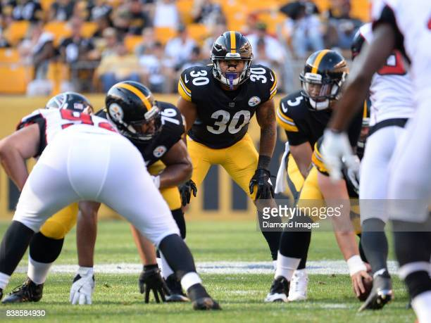 Running back James Conner of the Pittsburgh Steelers awaits the snap from his position in the third quarter of a preseason game on August 20 2017...