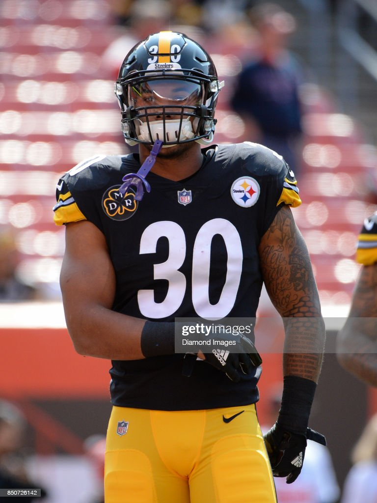 Running back James Conner #30 of the Pittsburgh Steelers walks onto the field prior to a game on September 10, 2017 against the Cleveland Browns at FirstEnergy Stadium in Cleveland, Ohio. Pittsburgh won 21-18.