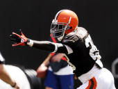 Running back James Davis of the Cleveland Browns signals a first down during the team's family day Brown versus White scrimmage on August 7 2010 at...