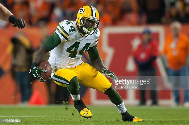 Running back James Starks of the Green Bay Packers carries the ball against the Denver Broncos at Sports Authority Field at Mile High on November 1...