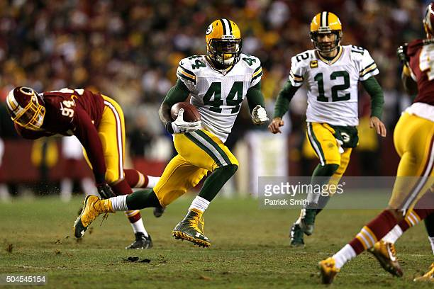 Running back James Starks of the Green Bay Packers in action against the Washington Redskins at FedExField on January 10 2016 in Landover Maryland