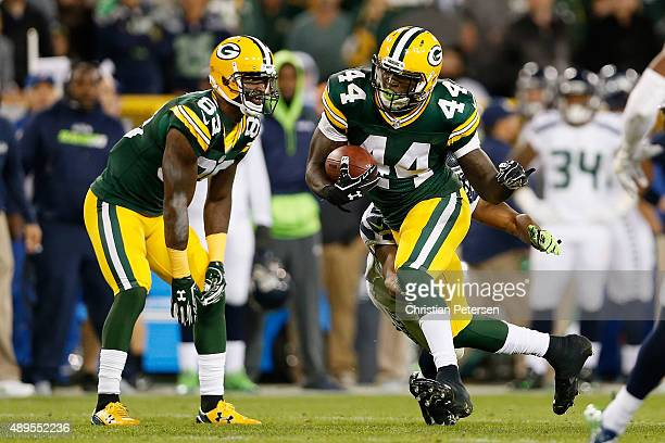 Running back James Starks of the Green Bay Packers rushes the football against the Seattle Seahawks during the NFL game against the Seattle Seahawks...