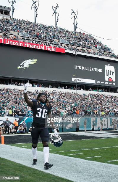 Running back Jay Ajayi of the Philadelphia Eagles celebrates his 46yard touchdown against the Denver Broncos during the second quarter at Lincoln...